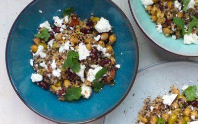 Quinoa met gemengde bonen & feta