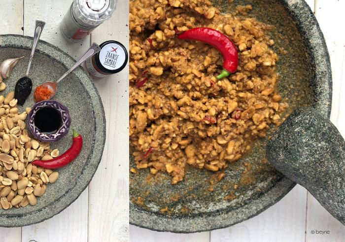 Grove pindasaus met Zaanse sambal