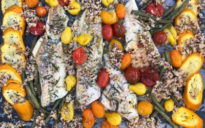 Vis en groenten van de bakplaat